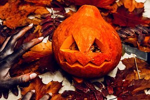 scary halloween pumpkin. dead man's