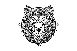 Ornate bear face, sketch for your