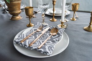 close up view of rustic table settin