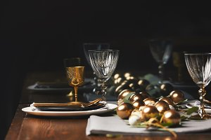 glasses, plates and easter eggs on w