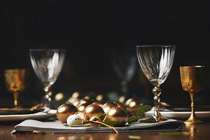 easter golden eggs on wooden table i