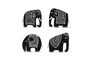 Cute elephant set, sketch for your