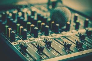 Closeup some part of audio mixer, vi