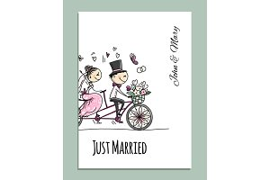 Wedding card design. Bride and groom