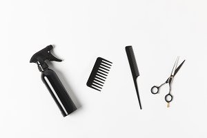 top view of spray bottle, combs and
