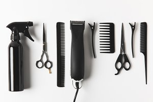 top view of hair clipper and hairdre