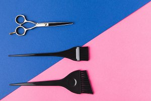 top view of hairdressing tools, on p