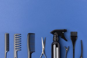 flat lay with black hairdressing too