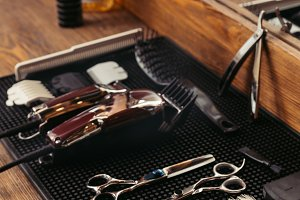 set of various professional barber t