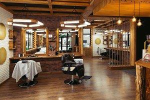 modern stylish empty barber shop int
