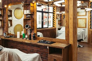 stylish illuminated barbershop with