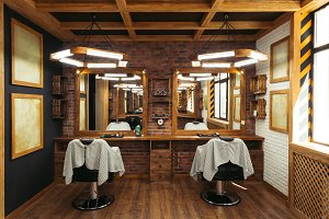 modern empty barbershop interior wit