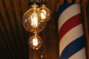 close-up view of illuminated light b