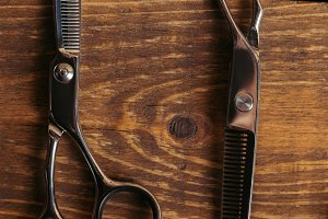 top view of professional scissors on