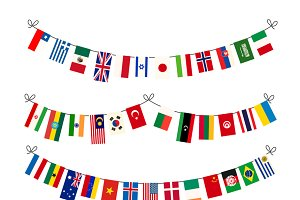 Set of different garlands with flags
