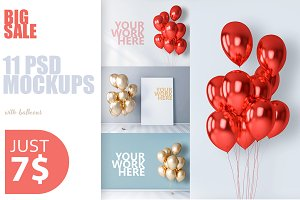 11 new PSD mockups with balloons