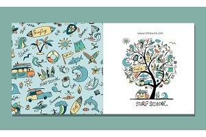Surf school, greeting card design