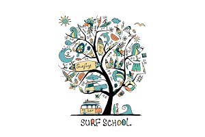 Art tree with surfing design