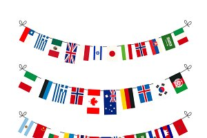 Set of garlands with flags