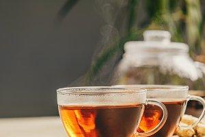 Tea composition on concrete backgrou