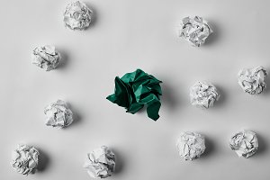 top view of green and white crumpled