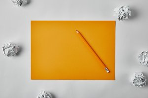 top view of blank yellow paper with