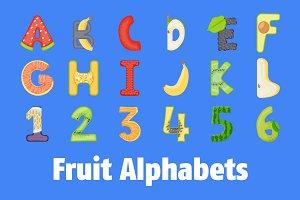 40 Fruit Alphabets Flat Vector Icons