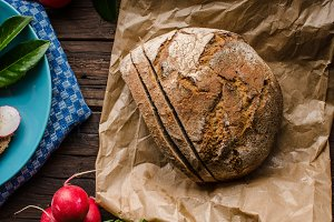 Homemade bread with fresh creame, he
