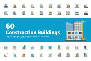 60 Flat Construction Building Icons