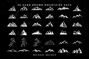 36 Hand Drawn Mountains Pack