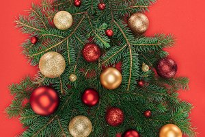 top view of pine tree branches, gold