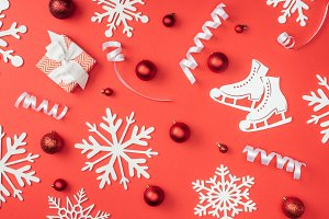 flat lay with white decorative snowf