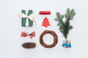 flat lay with arranged decorations f