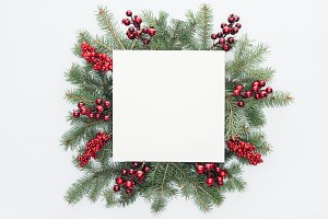 top view of pine tree wreath with Ch