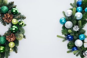 top view of pine tree wreathes with