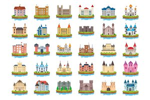 50 Castle Island Flat Vector Icons