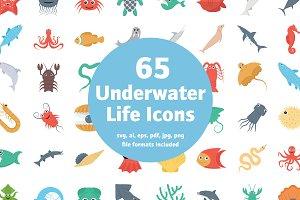 65 Flat Underwater Life Icons