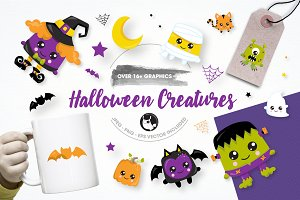 Halloween creature illustration pack