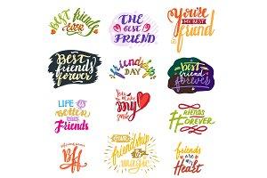 Friend lettering vector friendship