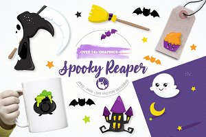 spooky reaper illustration pack