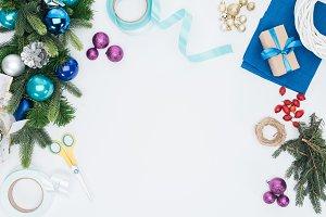top view of handmade christmas wreat