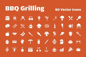 80 Barbeque Grilling Vector Icons