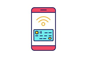 NFC smartphone signal color icon