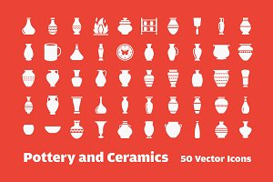 50 Pottery Vector Icons