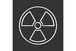 Nuclear energy chalk icon