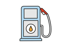 Filling station color icon