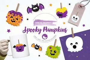 spooky pumpkin illustration pack