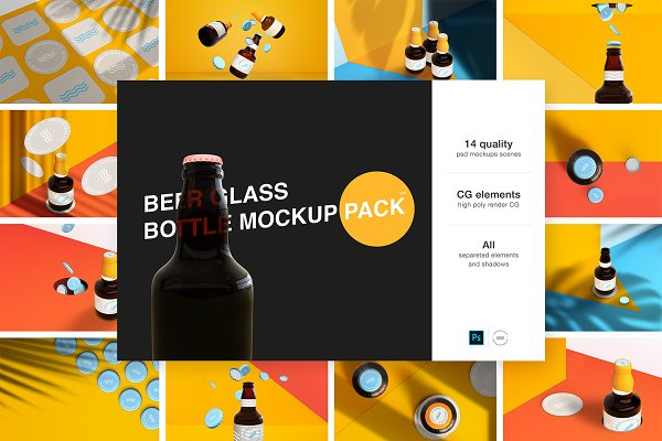 Product Mockups: P.Graphic - Amazing Bottle Mockup Pack
