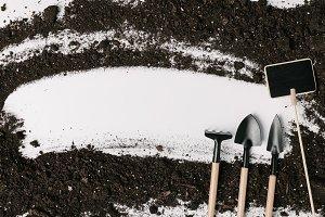 top view of arranged gardening equip