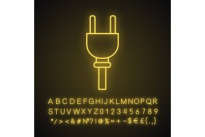 Electric plug neon light icon
